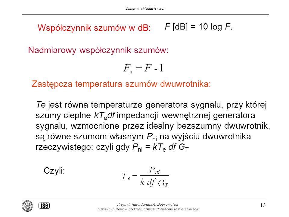 Współczynnik szumów w dB: F [dB] = 10 log F.